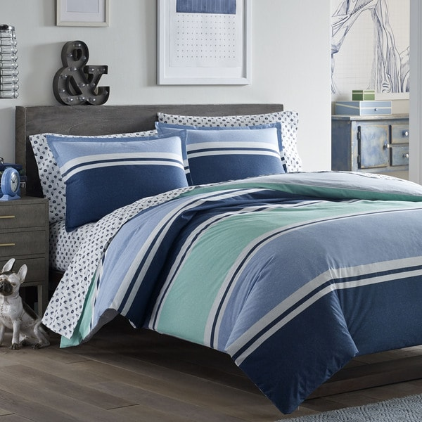 Poppy and Fritz Taylor Aqua and Blue Cotton Comforter Set
