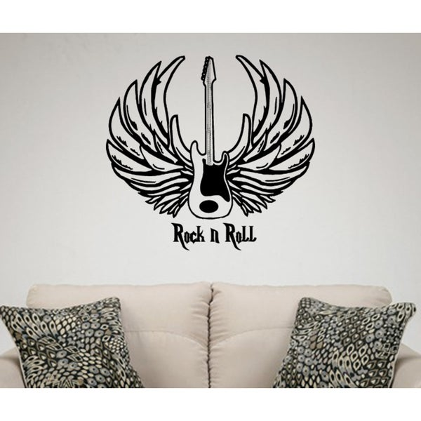 Shop Guitar with Wings Rock and Roll Wall Art Sticker Decal - Free ...