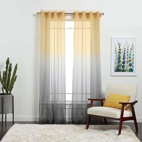 Semi Sheer Ombre Single Curtain Panel