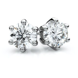 14k White Gold 1/5ct TDW 6-prong Round Diamond Stud Earrings (J-K, SI1-SI2)