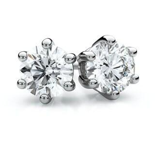 14k White Gold 1/4ct TDW 6-prong Round Diamond Stud Earrings (F-G, VS1-VS2)