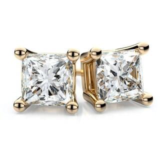 18k Yellow Gold 1ct TDW 4-prong Princess Diamond Stud Earrings