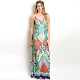Shop the Trends Women's Spaghetti Strap Maxi Dress with Allover Multicolored Ethnic Print