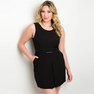 Shop the Trends Women's Plus Size Sleeveless Short Dress with Round Neckline and A Removable Belt