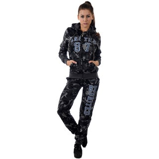 Women's 2-piece Light Fleece Set Hooded Camouflage Tracksuit