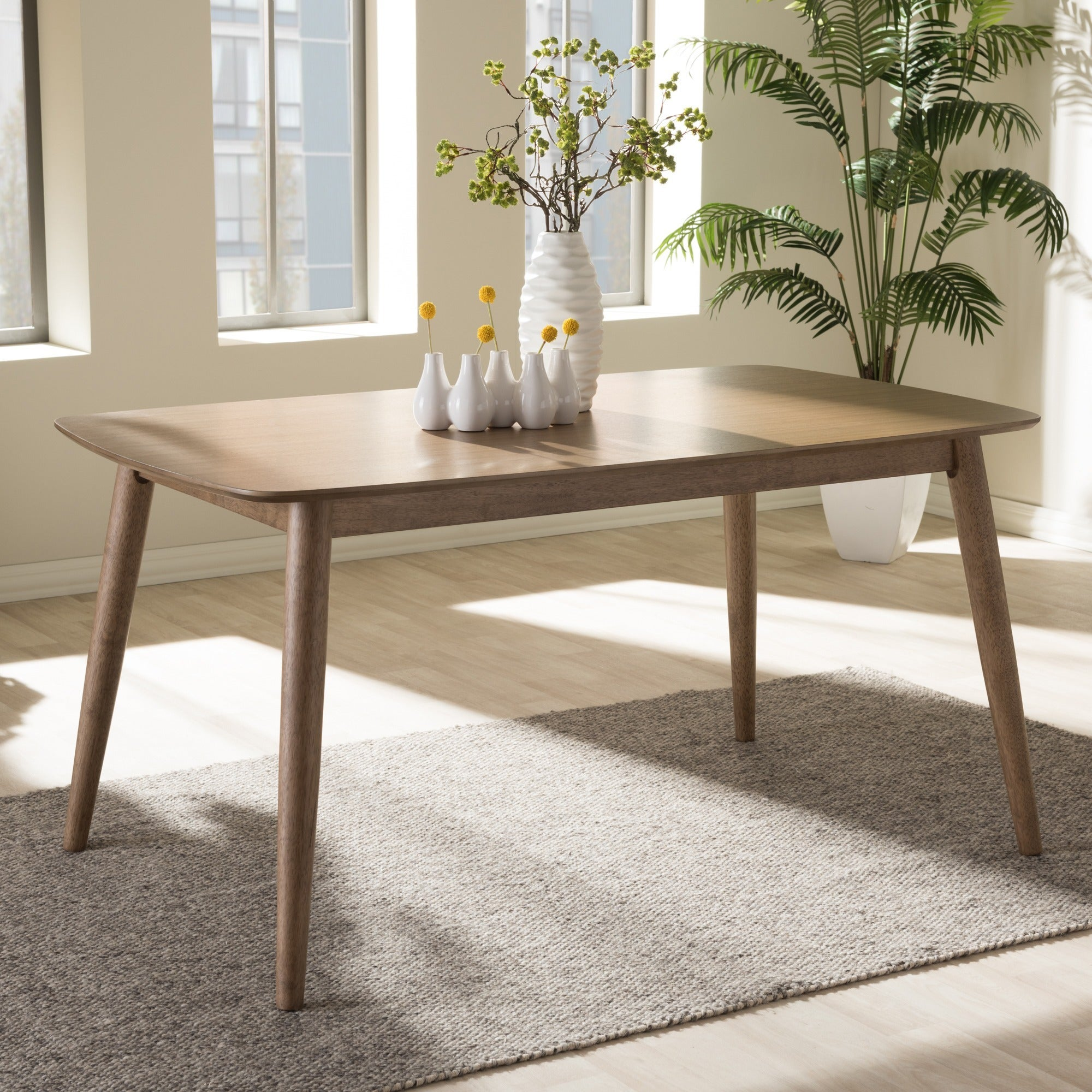 Shop Baxton Studio Edna Midcentury Modern French Oak Finishing - Mid century oak dining table