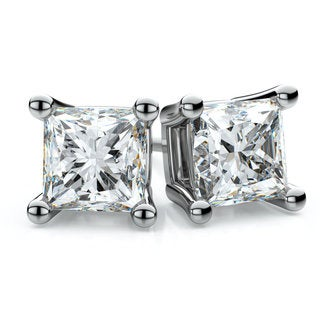 18k White Gold 3/4ct TDW 4-prong Princess Diamond Stud Earrings (H-I, VS1-VS2)
