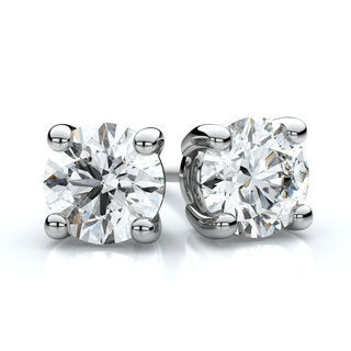 18k White Gold 1ct TDW 4-prong Round Diamond Stud Earrings (F-G, VS1-VS2)
