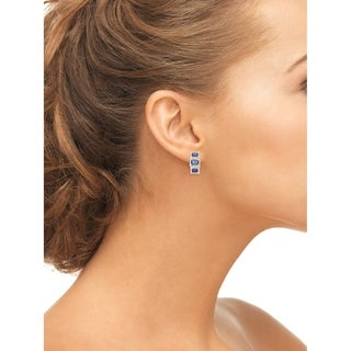 Gioelli 10k White Gold 5/8ct TDW Diamond and Created Sapphire Latchback Earrings (I-J, I1-I2)