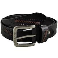 Nemesis Black Cross Stitched and Perforated Genuine Leather Belt