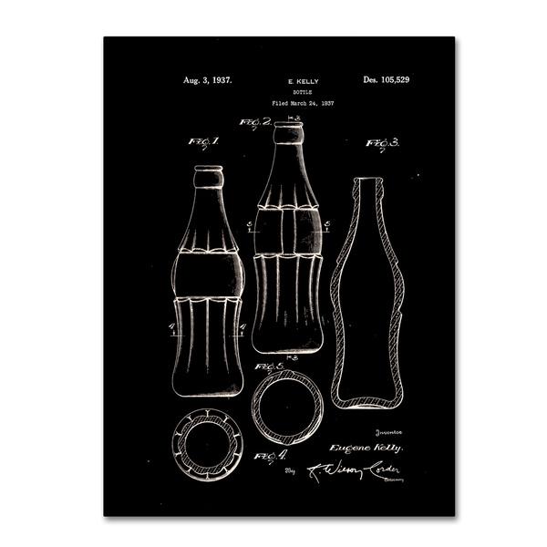 Shop Claire Doherty \'Coca Cola Bottle Patent 1937 Black\' Canvas Wall ...