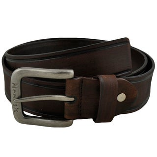 Nemesis Embossed Stripes Genuine Leather Belt