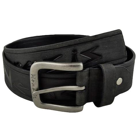 Nemesis Black Embossed Logo and Stripes Geniune Leather Belt