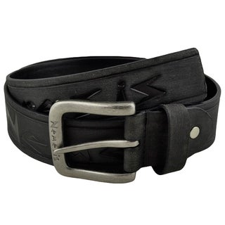 Nemesis Black Embossed Logo and Stripes Geniune Leather Belt