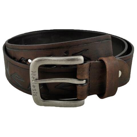 Nemesis Dark Brown Embossed Logo and Stripes Geniune Leather Belt
