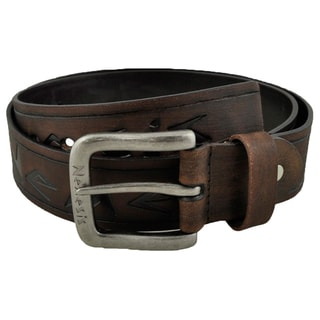 Nemesis Dark Brown Embossed Logo and Stripes Geniune Leather Belt