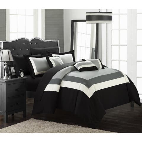 Copper Grove Minesing Black/ White 10-piece Bed in a Bag with Sheet Set