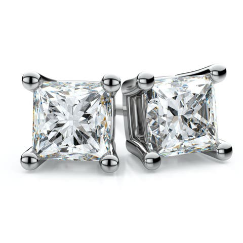 18k White Gold 1/2ct TDW 4-prong Princess Diamond Stud Earrings