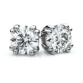 14k White Gold 3/4ct TDW Double Prong Round Diamond Stud Earrings (F-G, VS1-VS2)