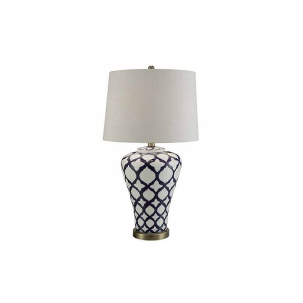 Crestview Collection 32.5 in. Blue and White Table Lamp