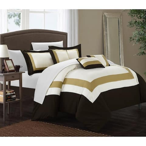 Copper Grove Minesing Gold/Brown/White 10-piece Bed in a Bag with Sheet Set