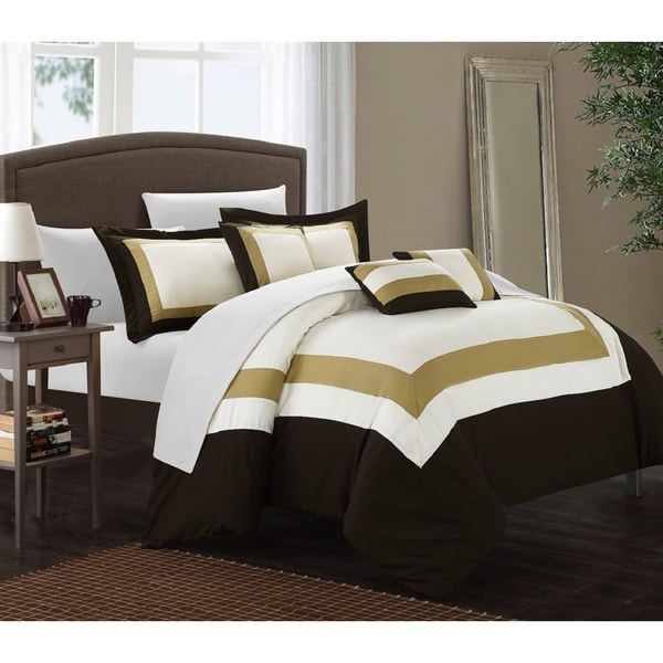 chic home darren gold brown white 10 piece bed in a bag with sheet set free shipping today. Black Bedroom Furniture Sets. Home Design Ideas