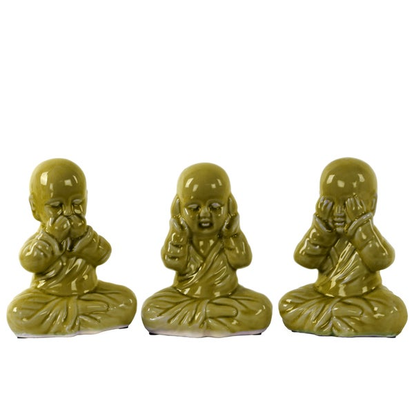 Ceramic Meditating Monk No Evil (Hear/Speak/See) Figurine Assortment of Three Gloss Finish Green