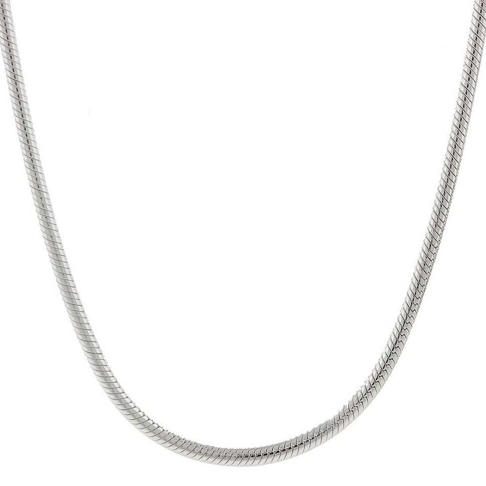 Sterling Silver Necklace SNAKE Chain 925 Italy 2mm