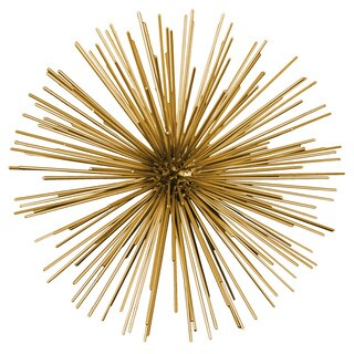 Metal Sea Urchin Ornamental Sculpture Wall Decor Large Coated Finish Gold