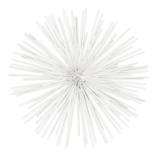 White Coated Finish Metal Small Ornamental Sea Urchin Sculpture