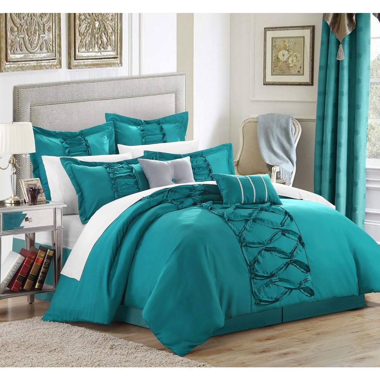 Oliver & James Marlene Turquoise 12-piece Bed in a Bag with Sheet Set