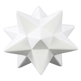 Ceramic 12 Point Stellated Icosahedron Sculpture Large Gloss Finish White