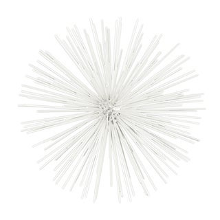 Coated White Finish Metal Large Ornamental Sea Urchin Sculpture