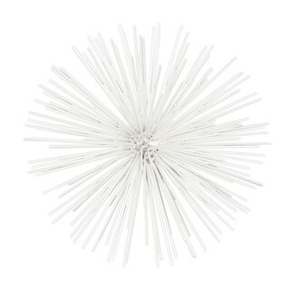 Coated White Finish Metal Large Ornamental Sea Urchin Sculpture