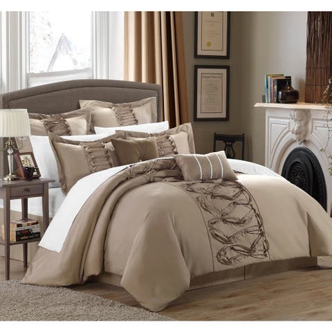 Gracewood Hollow Khadra Taupe 12-piece Bed-in-a-bag and Sheet Set