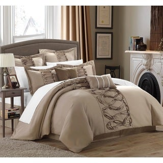 Chic Home Nancy Taupe 12-Piece Bed in a Bag with Sheet Set