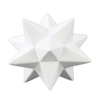 Glossy White Finish Ceramic Small 12 Point Stellated Icosahedron Sculpture