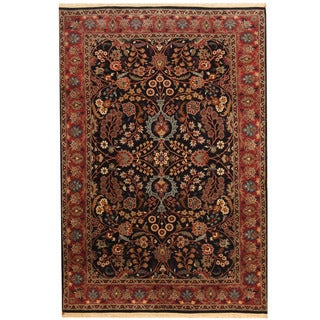 Herat Oriental Pakistani Hand-knotted Isfahan Navy/ Red Wool Rug (4'1 x 6'2)