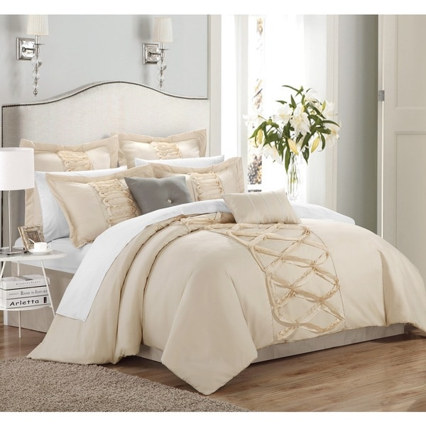 Chic Home Nancy Beige 12-Piece Bed in a Bag with Sheet Set