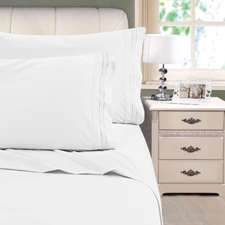 Soft Brushed 3-line Embroidery Bed Sheet Set