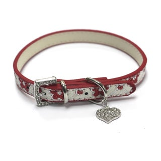 Petcessory Flower with Heart Shaped Pendant Leather Pet Collar