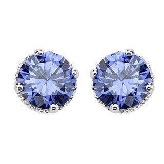 Sterling Silver Tanzanite Cubic Zirconia Stud Earrings