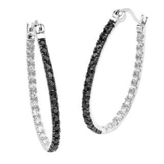 Sterling Silver Cubic Zirconia Oval Earrings