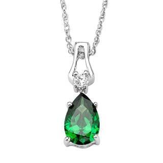 Sterling Silver Emerald Cubic Zirconia Pendant