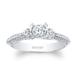Matthew Ryan 14k White Gold 3/4ct TDW Diamond 3-stone Engagement Ring (G-H, SI1-SI2)