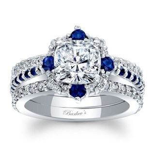 Barkev's Designer 14k White Gold 1/4ct TDW Cushion-cut Diamond and Blue Sapphire 3-piece Bridal Set (F-G, SI1-SI2) (More options available)