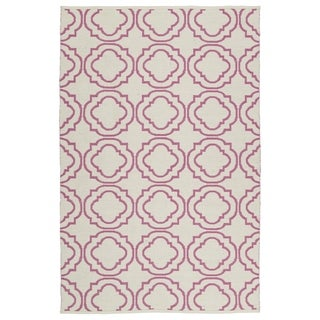 Indoor/ Outdoor Laguna Ivory and Pink Geo Flat-Weave Rug (3'0 x 5'0)