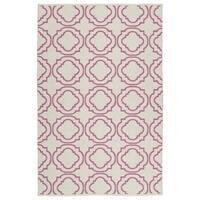 Indoor/ Outdoor Laguna Ivory and Pink Geo Flat-Weave Rug - 3' x 5'
