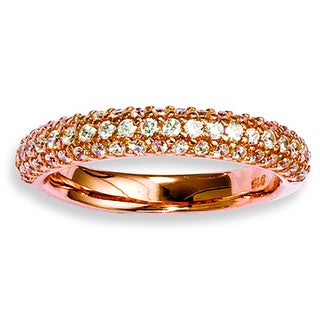 Versil Rose Gold over Silver 61-stone Cubic Zirconia Ring