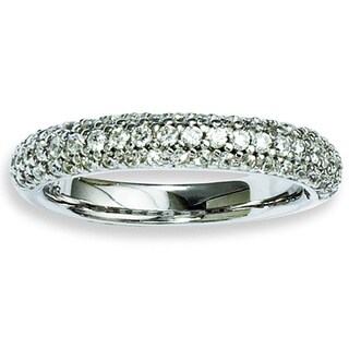 Versil Sterling Silver Pave 61-stone Cubic Zirconia Ring